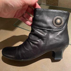 Black Rieker booties